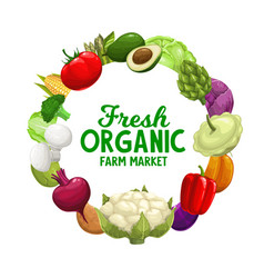 vegetables frame banner veggies food farm market vector image