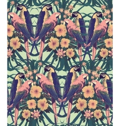 Vintage style seamless pattern with macaw parrots vector