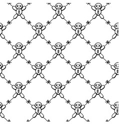 Voodoo doll tied texture pattern vector