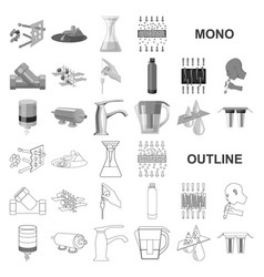 Water filtration system monochrom icons in set vector