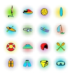 Water Sport Icons set vector