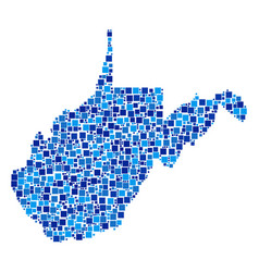 West virginia state map composition of squares vector