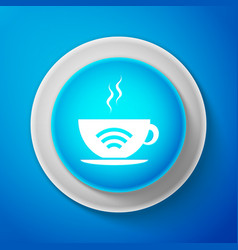 White cup of coffee shop with free wifi zone icon vector