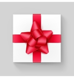 White Square Gift Box with Red Ribbon Bow vector image