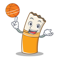 with basketball cigarette character cartoon style vector image