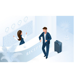 woman receptionist at counter welcome man in hotel vector image