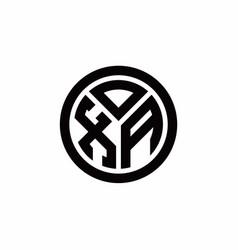 Xa monogram logo with circle outline design vector