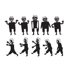 zombie cartoon characters set vector image