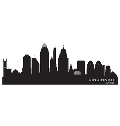 Cincinnati Ohio skyline Detailed silhouette vector image