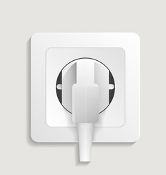 realistic electric wall outlet with plug icon vector image