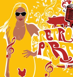 retro party girl background vector image vector image