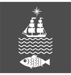 Seafood shop restaurant market logo vector image