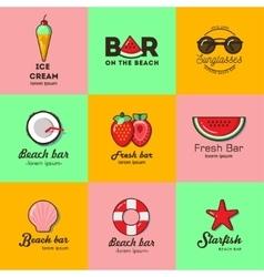 Set of nine logos for summer beach bar vector