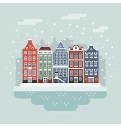 Amsterdam winter city scene vector image
