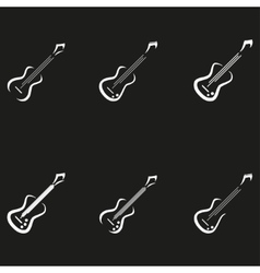Electric guitar icons music signs vector image vector image