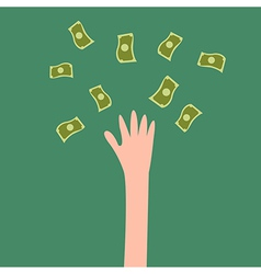 Lucky hand with fly money vector image vector image