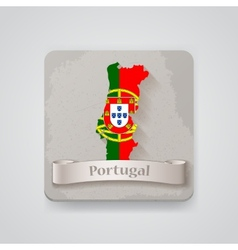 Icon of Portugal map with flag vector image