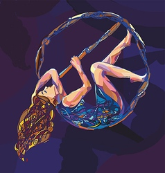 pole dance women with aerial hoop vector image