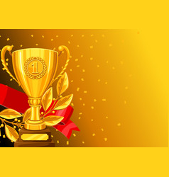 realistic gold cup laurel branch and ribbon vector image vector image