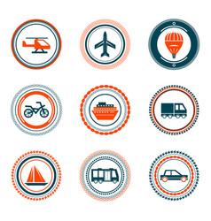 set of vintage transportation stamps icons vector image