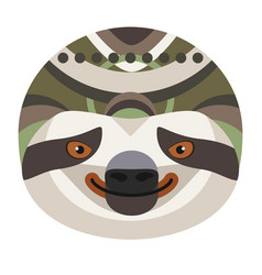 sloth head logo decorative emblem vector image