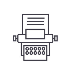 type writer line icon sign vector image