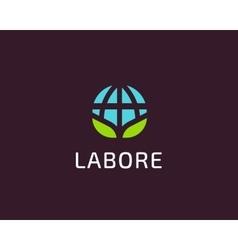 Abstract globe green leaf logo design vector image vector image