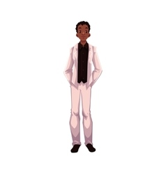 African American groom fiance just married man vector image