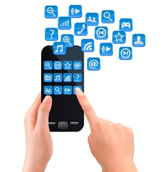 Hands holding mobile phone with icons vector image