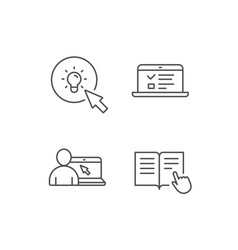 Instructions idea and online education icons vector