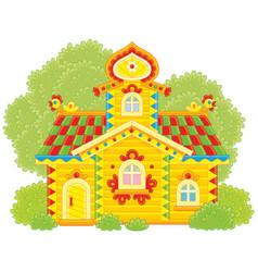 Ornate log hut vector