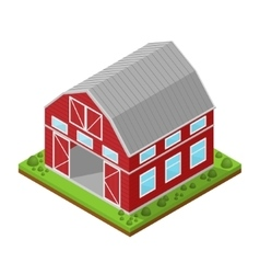 Red Farm House Isometric View vector image vector image
