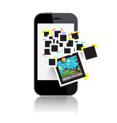 retro film photo frames on smart phone display vector image vector image