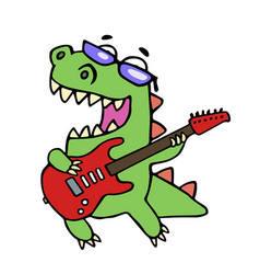 rock star dinosaur playing the electric guitar vector image