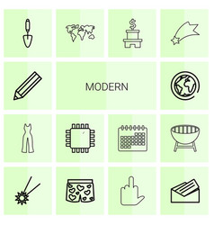 14 modern icons vector image