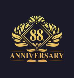 88 years anniversary logo luxury floral golden vector