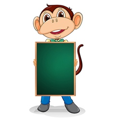 A monkey holding an empty blackboard vector