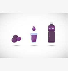 acai berries juice flat icon set vector image