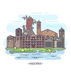 Andorra landmarks or andorran architecture vector