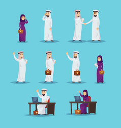 arab businesspeople set working successfully vector image