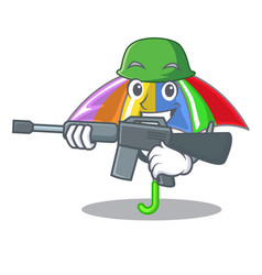 Army rainbow umbrella in shape a cartoon vector