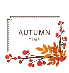 Autumn time maple leaf frame background ima vector