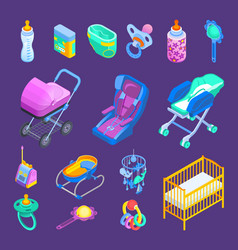 Baby accessories isometric set vector