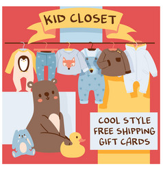 Baby shop cartoon kids clothing toys vector