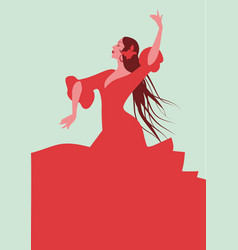 beautiful spanish flamenco dancer wearing elegant vector image