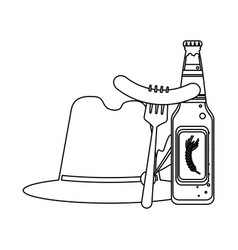 beer and sausage in black and white vector image