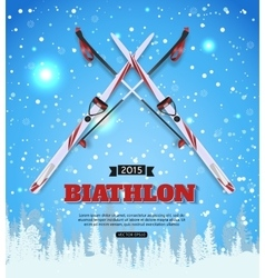 Biathlon typographical background with vector
