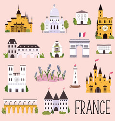 Big collection famous landmarks france vector