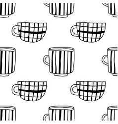 Black and white tea or coffee mugs vector