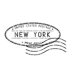 black faded mail stamp new york post vector image